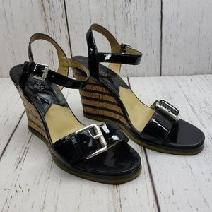 Micheal Kors Black Wedges Strappy Buckle 9M